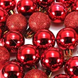 Best Choose 24pcs RED Xmas Tree Decoration Christmas Glitter Balls Ornament
