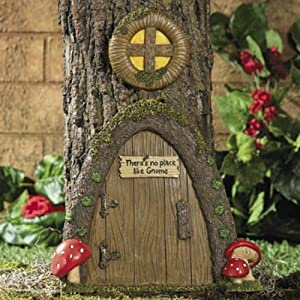 Garden gnome home door in a tree art pieces outdoor yard decor fairy door patio - Garden decor accessories ...