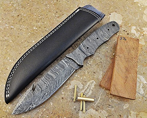 Damascus Knife Kit | High Quality Hand forged Damascus Steel Full Tang Gut Hook Blank Blade with attached Bolster, Brass