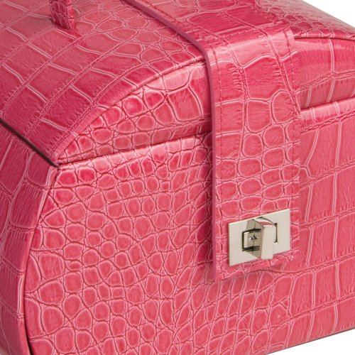 Olivia Mele & Co. Rounded Purse Style Croco Faux Leather Jewelry Box in Raspberry