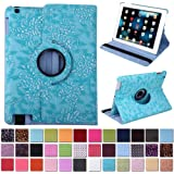 HDE 360° Rotating Leather Folio Case and Stand with Sleep/Wake Feature for iPad 2/3/4 (Ocean Blue Embossed)