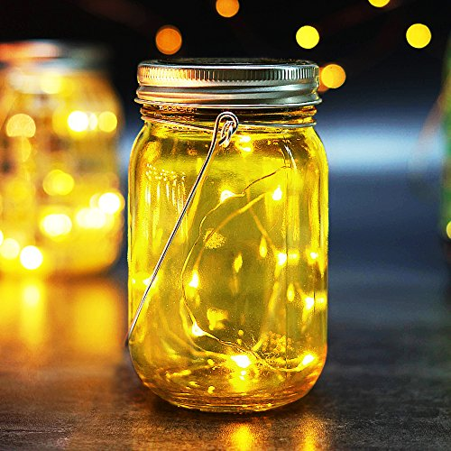 BRIGHT ZEAL Solar LED Decorative Jars with Lids and Starry LED String Light (5