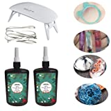 2X250ML Crystal Clear Transparent Epoxy Resin UV-led Resin Non-Toxic with UV lamp for Resin Molds jewelry Earrings Necklace Bracelet Making (Tamaño: 2X250ML Resin+Lamp)