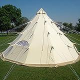 qexan tipi-500テントの100 %の綿のキャンバスの大きさ500x500x300cm)まで