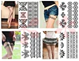 4-pack Sexy Lace Temporary Tattoos, Sexy Leg Tattoos, Bow Lace Tattoos