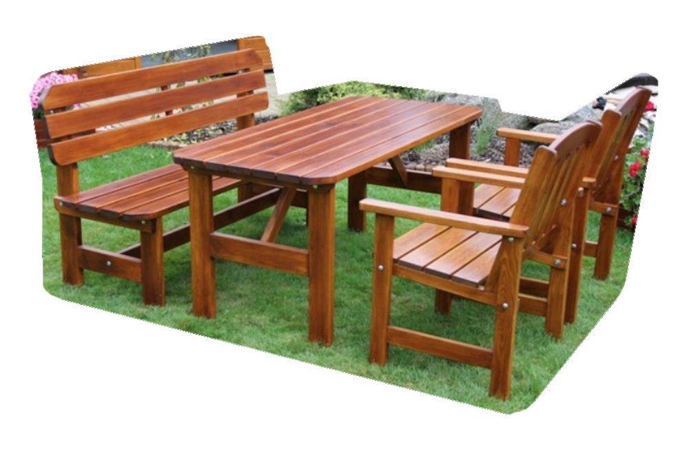 "Massivholz Garten Sitzgruppe ""ORB-2"" , Kiefer , unlackiert , Holzdicke 32/28 mm , Gartenbank , 2 Sessel und Massivholztisch . online bestellen"