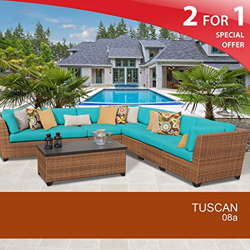 Tuscan 8 Piece Outdoor Wicker Patio Furniture Set 08A Wheat 2 Yr Fade Warranty