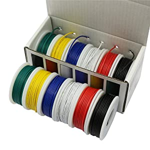 CBAZYTM Hook up Wire Kit (Stranded Wire Kit) 26 Gauge 6 Colors 32.8 feet Each Electrical Wire 26 AWG PVC Wire (Color: D-(red+blue+green+yellow+white+black), Tamaño: 26AWG)
