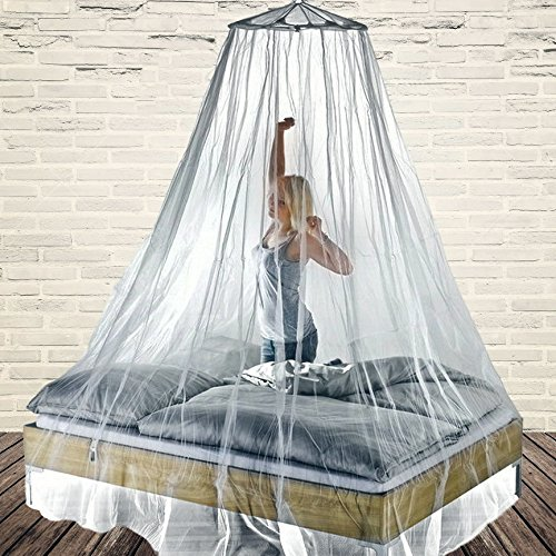 Mosquito Net Kit for King Size Bed Stylish Bedroom Canopy Decoration Best Zika Malaria Bugs Bites Protection Round Pop-Up + Free Carry Pouch White & Mosquito Net Kit for King Size Bed Stylish Bedroom Canopy ...