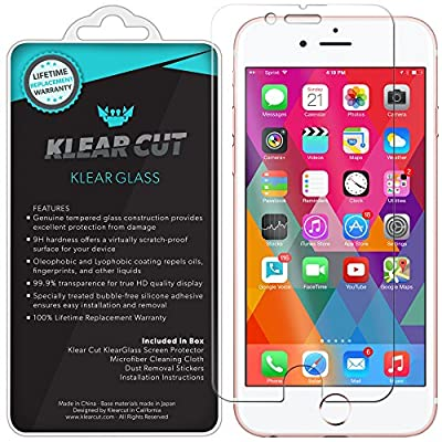 iPhone 7 Plus Screen Protector, Klear Cut KlearGlass Ballistic Tempered Glass Screen Protector for iPhone 7 Plus HD Clear 9H Hardness Anti-Bubble Shield - Lifetime Warranty