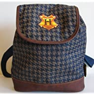 Harry Potter Purse/Backpack 2001 - Navy & Tan Houndstooth Pattern with Hogwarts Crest