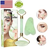Jade Roller, Jade Roller for Face, Jade Roller Massager, Natural Jade Facial Roller,Anti Aging Jade roller set with Gua Sha Scraping Tool - SPA Face Massage Anti Aging Cold Therapy Beauty Sliming To (Color: Dq, Tamaño: 24g)