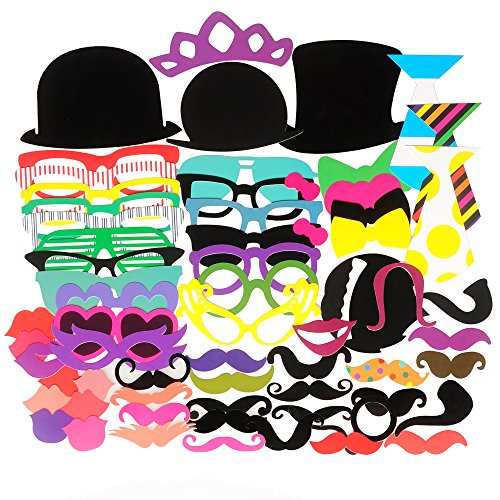 Seekingtag Photo Booth Props 62 Pieces DIY Kit for Weddings, Photo Shoots & Special Events Party Favors