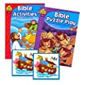 Bible Stories Coloring and Activity Book Set (2 Books ~ 96 Pages) Jesus, Noah, Daniel ~ With Noah's Ark Stickers