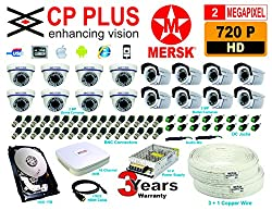 16 CH CP PLUS HD DVR + 8 HD 2 MEGAPIXEL MERSK DOME CAMERAS + 8 HD 2 MEGAPIXELMERSK BULLET CAMERAS + 1 TB HARD DISK + 12 V VOLT POWER SUPPLY + 16 BNC CONNECTORS + AUDIO MIC + HDMI CABLE (CAMERAS ARE NOT OF CP PLUS BRAND THEY ARE OF MERSK COMPANY MADE IN TAIWAN) NO INSTALLATION SERVICE