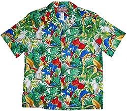 RJC Brand Tropical Parrot Escape Men's Hawaiian Shirt Beige 3X