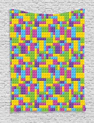 Home Colorful Plastic Construction Blocks Cubes Geometric Childhood Game Illustration Purple Blue Green Supersoft Throw Fleece Blanket 59.05