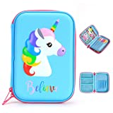 BTSKY Cute Unicorn Hard Shell Pencil Case- Large EVA Colored Pen Holder Box With Compartments Girls Cosmetic Pouch Bag Stationery Organizer(Blue) (Color: Blue)