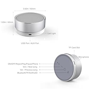 Portable Wireless Bluetooth Speakers 2000mAh, CSR 4.1, 5W Enhanced Bass,High-def Sound (Silver)