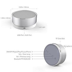 Portable Wireless Bluetooth Speakers 2000mAh, CSR 4.1, 5W Enhanced Bass,High-def Sound (Silver)