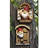 Design Toscano The Knothole Gnomes Garden Welcome Tree Sculpture: Window and Door Gnomes
