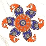 999Store Handmade Multicolour Wooden Rangoli Diwali Decorative Item, Home Décor Orange Purple