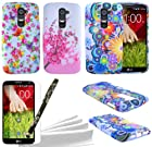 ColorYourLife LG G2 Case Bundle - 3 Colorful Rubberized Flexible TPU Cases Covers Skins with Screen Protector for LG G2 (NOT for AT&T model) + Stylus Pen + Microfiber Cleaning Cloth (Flower pattern)