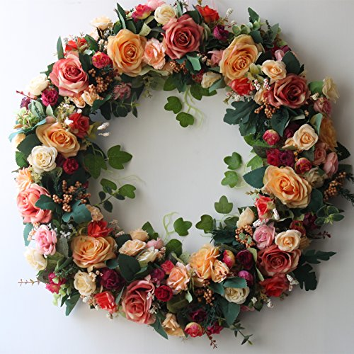 Door Wreath 24 inch Artificial Rose Flowers Home Wall Decor Vintage Style
