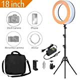 MACTREM Ring Light 18 inch 58W LED Dimmable Makeup Ring Light Adjustable Color Temperature 5500K Lighting Kit Ring Light with Stand,Hot Shoe Adapter,Camera Smartphone Video Shooting,Vlog and Makeup (Color: Ring light)