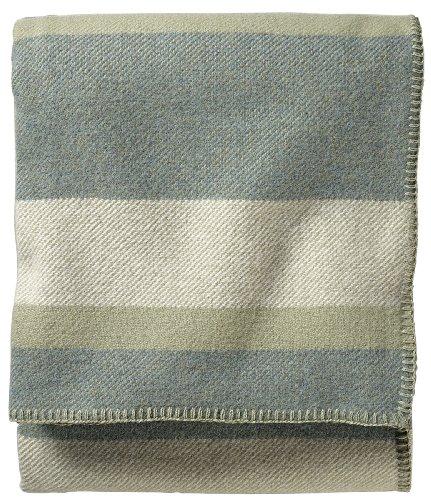 Pendleton Eco-Wise Easy Care Blanket, King, Sage Stripe front-392646