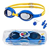 KidSwim Swimming Goggles For Children (Age 4-12) Perfect Fit, No Leak Waterproof Swim Goggles With Anti Fog Lens And Soft Silicone Strap