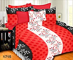 Prisha Red And White Royal Double Bed Sheet With Two Pillow Covers
