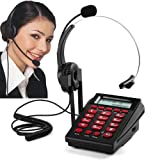 MCHEETA Call Center Phone Corded, Telephone with Headset for Call Center Office, with Hands-free Noise Cancelling Headset & Compact Dialpad (Color: Red)