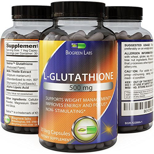 Pure Reduced Glutathione Supplement Whitening Pills #1 Potent Antioxidant Anti-aging Reduce Dark Spots Healthy Detox Powerful Amino Acids for Brain Skin and Immune System Women and Men