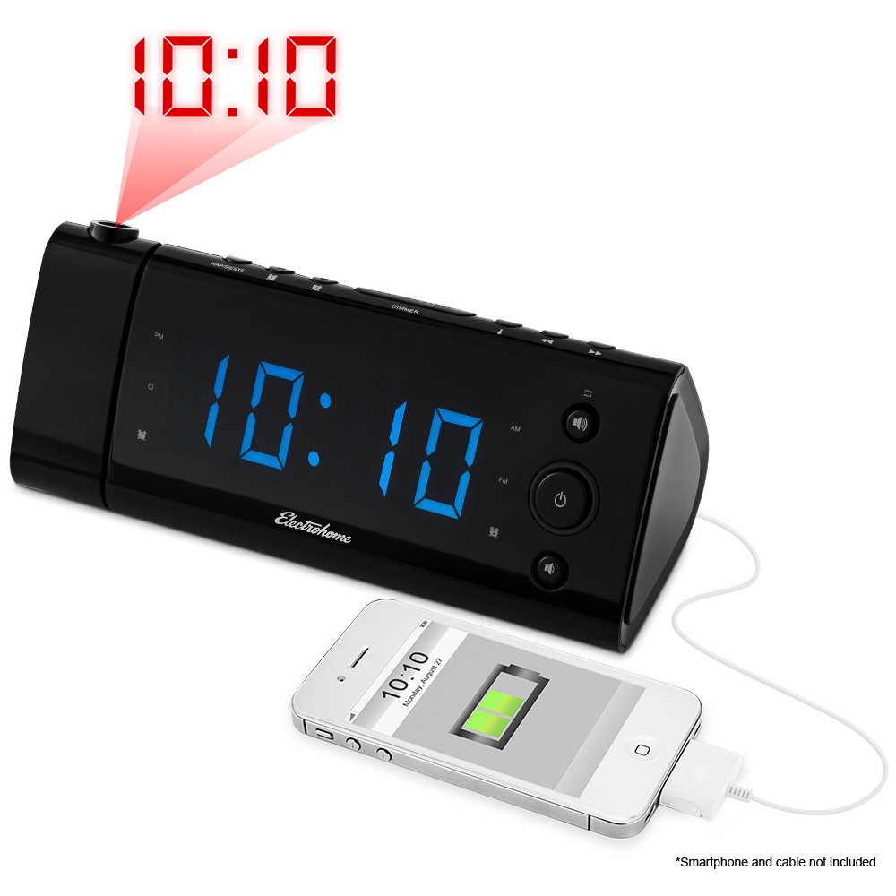 "Electrohome USB Charging Alarm Clock Radio with Time Projection, Battery Backup, Auto Time Set, Dual Alarm, 1.2"" LED Display for Smartphones & Tablets (EAAC475)"