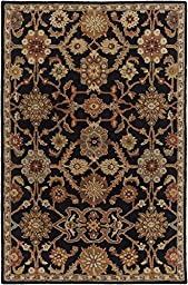 Black Rug Classic Design 3-Foot 6-Inch Round Hand-Made Traditional Wool Carpet