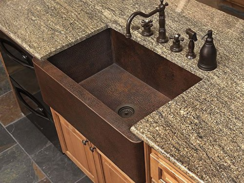 "30"" Small Fernda Single Well Copper Farmhouse Sink"