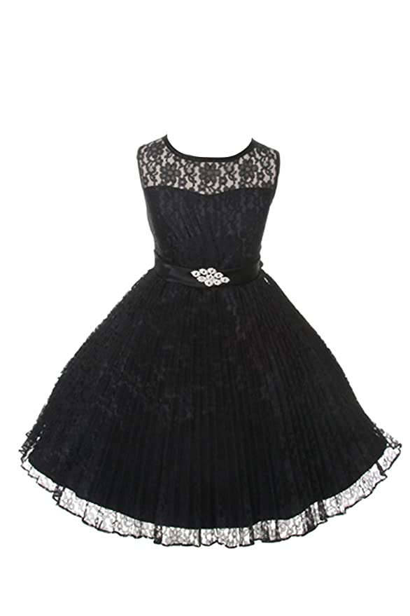 JM DREAMLINE Lovely Tulle Pleated Lace Flower Girl Dress