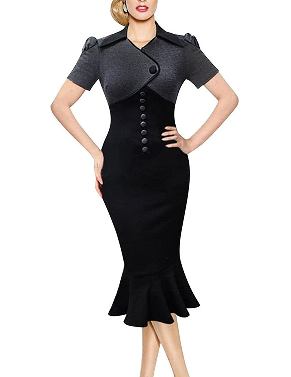 Sunblume Women's Vintage Fishtail Short Sleeve Slim Retro Evening Dress 0