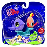 Hasbro Year 2007 Littlest Pet Shop Pet Pairs Sportiest Series Pet Figure Set - Purple Whale (#644) And Peach Color...