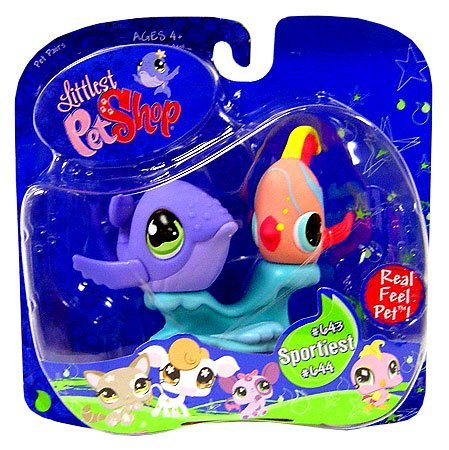 Hasbro Year 2007 Littlest Pet Shop Pet Pairs Sportiest Series Pet Figure Set - Purple Whale (#644) And Peach Color...