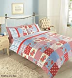 New Patchwork Duvet Quilt Cover with Pillowcases Bed Set Single Double King Size (Red, King)