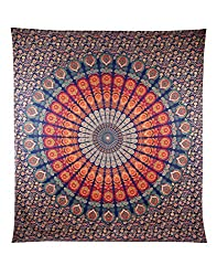 Attractive 95x85 Tapestry Cotton Indian Indian Design Wall Tapestry Blue Wall Hangings Floral Printed By Rajrang