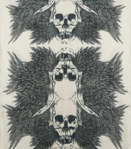 Ganz Artistic Feathered Skull Voile Scarf - Biker Black & Bone Skull Scarf by Ganz at Sears.com