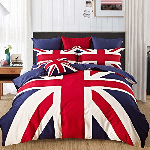 Kpblis®British Flag Cartoon Bedding Sets,Student Dormitory Duvet Cover Sets,Twin/ Full/ Queen (British Flag Bedding compare prices)