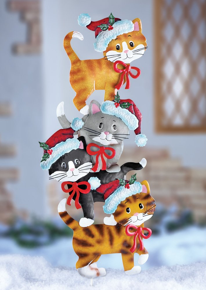 Christmas kitty cats yard stakes christmas wikii for Christmas cat yard decorations