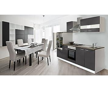 respekta Kuchenzeile 270 cm weiß grau - mit APL Nussbaum (Nachbildung) KB270WG