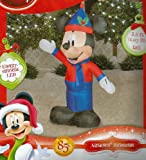 Disney Mickey Mouse Santa Hat & Holly Airblown 3.5 Ft Tall Christmas Inflatable