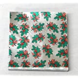 """3"""" x 3"""" Holly Print - Holly with Berries on Silver- Confectionery Foil Wrappers Candy Wrappers Candy Making Supplies"""