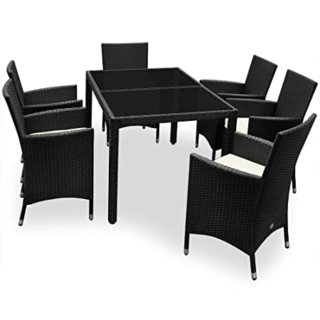 Rattan Garden Furniture Dining Table Set 6 Seater - Incl Tarpaulin and Cushion Covers Black Patio Conservatory Cube Rectangular Glass